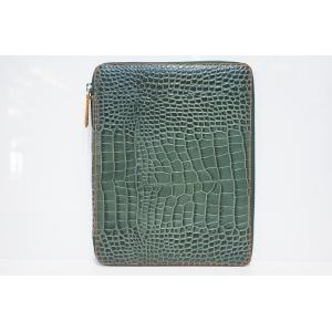 TRIVALENTE ipadCASE TM.Green×NATURAL トリヴァレンテ i-padケース アイパッドケース カバー クロコ 型押し グリーン 緑 オレンジ タブレットケース |portarossa