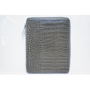 TRIVALENTE ipadCASE TM.GREY×SKYBLUE トリヴァレンテ i-padケース アイパッドケース カバー クロコ 型押し グレー 水色 スカイブルー タブレットケース|portarossa