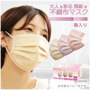 マスク カラーマスク 血色マスク 30枚 不織布マスク 箱あり 99%カット 個包装 使い捨て 両面同色 ノーズワイヤー 風邪 三層構造 ホコリ 花粉 飛沫不織布 752770 poruchan0820