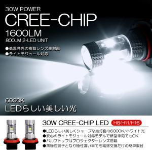 H8 30W CREEチップ フォグランプLEDバルブ 6000K/ホワイト 2個/1セット|possible