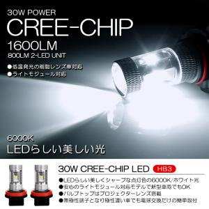 HB3 30W CREEチップ ハイビームLEDバルブ 6000K/ホワイト 2個/1セット|possible