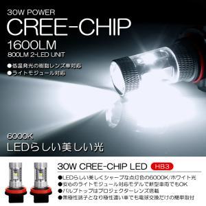 10系 前期 レクサス RX270 RX350 RX450h LED ハイビーム HB3 30W CREE 6000K/ホワイト 2個/1セット|possible