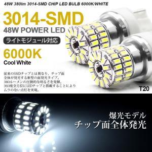 ZVW30系 前期 後期 プリウス LED バックランプ T20 ウェッジ球 ピンチ部違い対応 48連 SMD ホワイト/6000K possible