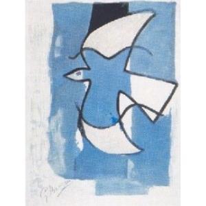 --ジョルジュ・ブラック アートポスター--灰色と青の鳥(60cm×80cm)-余白無し- -おしゃれインテリアに-|poster