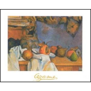 【アートポスター】 藁で包まれた花瓶と皿のフルーツ (60cm×80cm) ポール・セザンヌ|poster