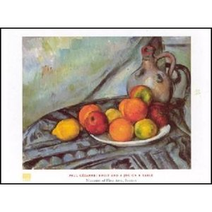 -アートポスター- テーブルのフルーツと水差し (60cm×80cm) ポール・セザンヌ -おしゃれインテリアに- poster