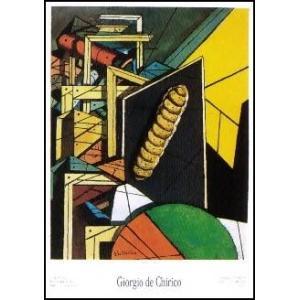 【アートポスター】ビスケットのある形而上的室内(50cm×70cm) キリコ|poster