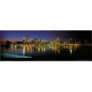 -フォトポスター- ミシガン湖に映るシカゴ 33cm×95cm 街 -おしゃれインテリアに-|poster