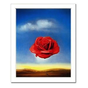 -サルバドール・ダリ額付ポスター-瞑想するバラ (320×390×15mm) -おしゃれインテリアに- poster