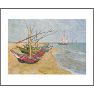 -アートポスター-  浜辺の漁船 40cm×50cm フィンセント・ファン・ゴッホ -おしゃれインテリアに-|poster