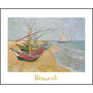 -アートポスター-  浜辺の漁船 50cm×70cm フィンセント・ファン・ゴッホ -おしゃれインテリアに-|poster