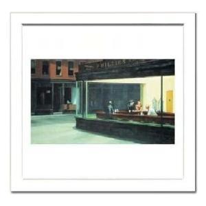 【エドワード・ホッパー額付ポスター】ナイト・ホークス(340×340×13mm)|poster