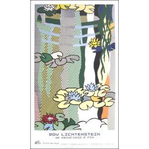-リキテンスタイン アートポスター-睡蓮と日本の太鼓橋(600×1000mm) -おしゃれインテリアに-|poster