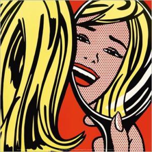 -リキテンスタイン アートポスター-鏡に映る少女1963年(300×300mm) -おしゃれインテリアに-|poster
