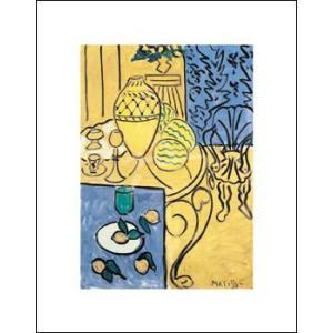 -アートポスター-マティス 黄色と青のインテリア(281x358mm) -おしゃれインテリアに-|poster