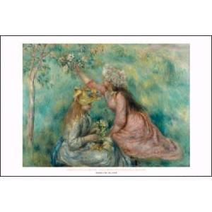 -アートポスター- 草原で花を摘む少女たち(610×915mm) ルノアール -おしゃれインテリアに- poster