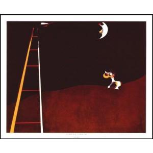 -ミロ アートポスター-月で吠える犬(483×590mm) ジョアン・ミロ -おしゃれインテリアに-|poster