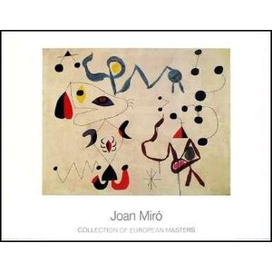 -ミロ アートポスター-夜の女と鳥(700×900mm) ジョアン・ミロ -おしゃれインテリアに-|poster