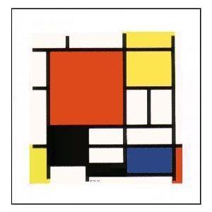 アートポスター 赤・黄・青・黒のコンポジション-シルクスクリーン-400x400mm モンドリアン -おしゃれインテリアに-|poster