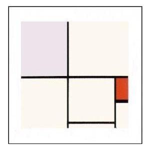 アートポスター 赤と灰のコンポジション【シルクスクリーン】400x400mm モンドリアン|poster