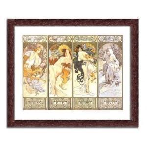 【ミュシャ額付ポスター】四季1897年(440×540×13mm)|poster