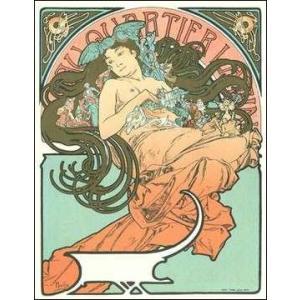 -リトグラフ-乳房を露わにした女(610x784mm) ミュシャ -おしゃれインテリアに-|poster