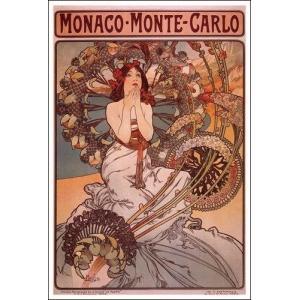 -アートポスターモナコ・モンテカルロ(532×787mm) ミュシャ -おしゃれインテリアに-|poster