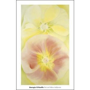 【アートポスター】ピンクと黄色のタチアオイ1952年(457×711mm) オキーフ|poster