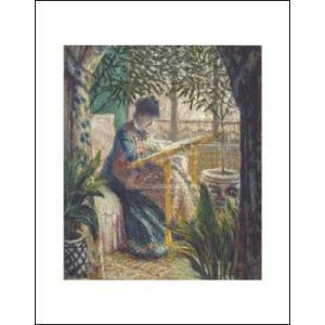-モネ アートポスター-刺繍をするモネ夫人1875年(281×358mm) -おしゃれインテリアに-|poster