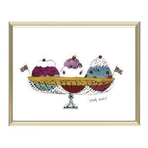 -アンディ・ウォーホル アルミ額装ポスター-アイスクリームデザート1959年(3スクープ)(300×380×7.5mm) -おしゃれインテリアに- poster