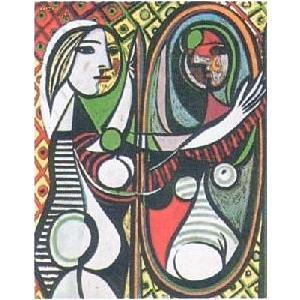 -パブロ・ピカソ アートポスター- 鏡の前の若い女 (60cm×80cm) -余白部分無し-  -おしゃれインテリアに-|poster