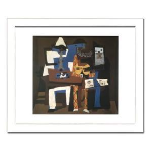 -パブロ・ピカソ額付ポスター-3人のミュージシャン1921年 (320×390×15mm) -おしゃれインテリアに- poster
