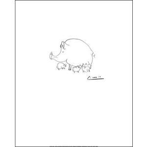 【ピカソ ポスター】ブタ(40x50cm) パブロ・ピカソ|poster