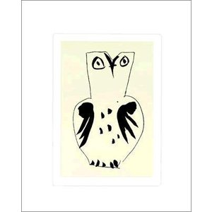 【アートポスター】 フクロウ(シルクスクリーン)500×600mm ピカソ-おしゃれインテリアに-|poster