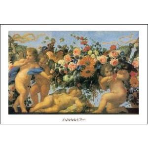 -アートポスター-天使と花(60cm×80cm) -マラッタ- -おしゃれインテリアに-|poster