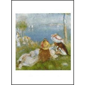-アートポスター- 川岸から海を臨む少女たち (40cm×50cm) オーギュスト・ルノアール -おしゃれインテリアに- poster
