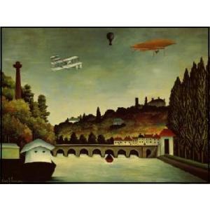 【ルソー】風景と飛行船(60cm×80cm) アートポスター|poster