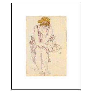 アートポスター 座る少女-上質紙仕様- (40cm×50cm) エゴン・シーレ -おしゃれインテリアに-|poster