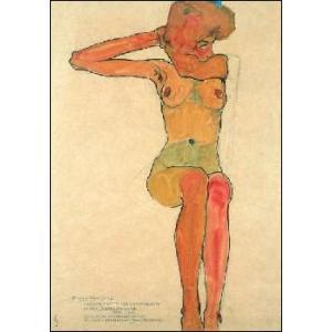 -アートポスター-座る裸婦(50cm×70cm) エゴン・シーレ -おしゃれインテリアに-|poster