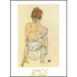 -アートポスター- Zittende Vrouw op de Rug Gezien (50cm×70cm) エゴン・シーレ -おしゃれインテリアに-|poster