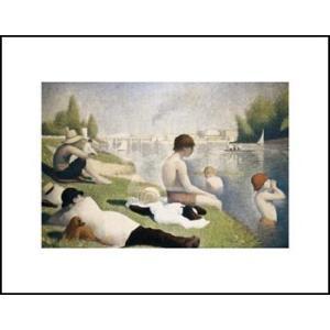 【スーラ】アニエールの水浴(281x358mm) アートポスター|poster