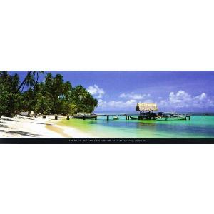 【フォトポスター】カリブ トバゴのピジョンポイントビーチ(33cm×95cm) 海|poster