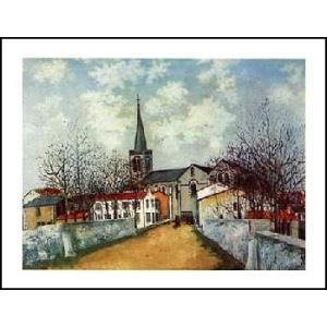 -ユトリロ-郊外の教会(560x710mm) アートポスター -おしゃれインテリアに- poster