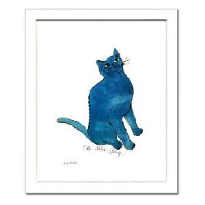 -アンディ・ウォーホル額付ポスター-青い猫1954年 (320×390×15mm) -おしゃれインテリアに- poster