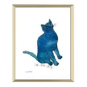 -アンディ・ウォーホル アルミ額装ポスター-青い猫1954年(300×380×7.5mm) -おしゃれインテリアに- poster