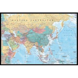 アジア・中東 地図 ポスターフレームセット Asia & Middle East Map 【世界地図】(140620)