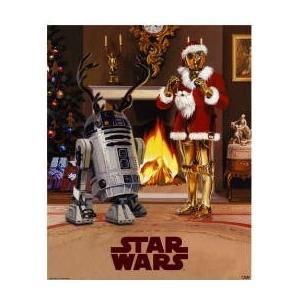 スターウォーズ (クリスマスバージョン C3PO R2D2) ミニ ポスター|posterbin2