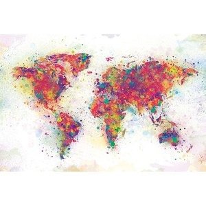 世界地図 ポスター World Map (Colour Splash) (180524)