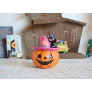 ハロウィン飾り スパイダーハットキャットパンプキンL ハロウィン雑貨 ハロウィングッズ 置物 ディスプレイ ミニチュア かぼちゃ パンプキン|potafleurs