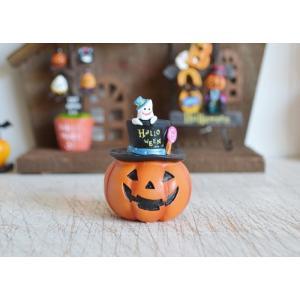 ハロウィン飾り キャンディドットゴーストパンプキンM ハロウィン雑貨 ハロウィングッズ 置物 ディスプレイ ミニチュア かぼちゃ パンプキン|potafleurs
